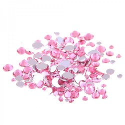 Стразы стекло розовые микс размеров